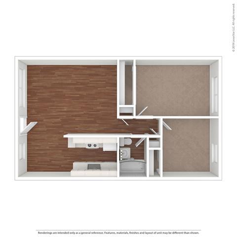 2 bed layout Floor Plan at Peninsula Pines Apartments, South San Francisco, 94080