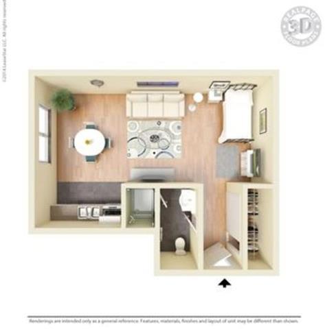 Tan 3D Floor Plan at Peninsula Pines Apartments, South San Francisco, 94080