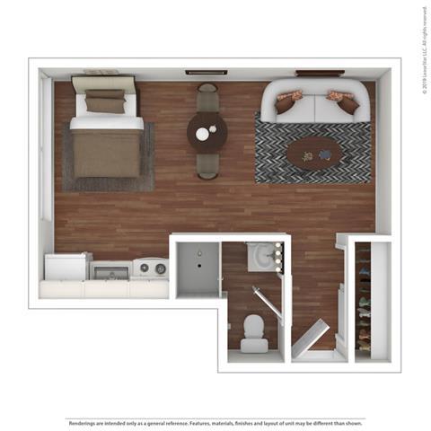 Furnished Studio Floor Plan at Peninsula Pines Apartments, South San Francisco, CA, 94080
