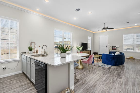 Living Room With Kitchen View at Clearwater at Balmoral Apartments, TBD MANAGEMENT, Texas, 77346
