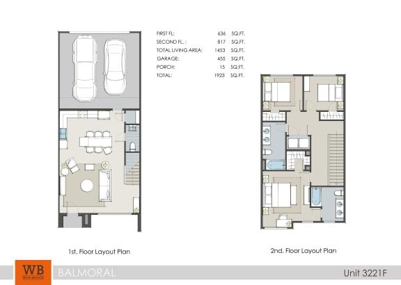 Floor Plan  3221F Floor Plan at Clearwater at Balmoral Apartments, TBD MANAGEMENT, Atascocita