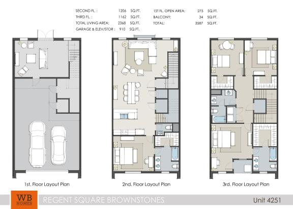 Floor Plan  4251 Floor Plan at Villas at Kings Harbor Apartments, TBD MANAGEMENT, Kingwood, TX
