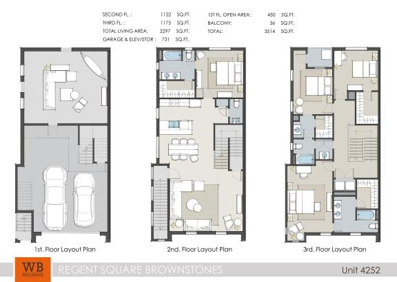 Floor Plan  4252 Floor Plan at Villas at Kings Harbor Apartments, TBD MANAGEMENT, Kingwood, Texas