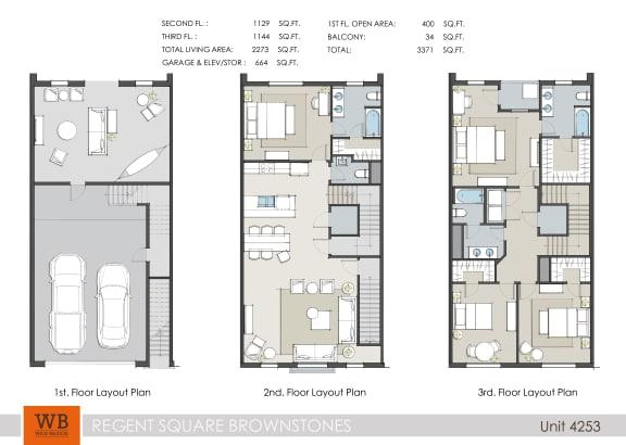Floor Plan  4253 Floor Plan at Villas at Kings Harbor Apartments, TBD MANAGEMENT, Kingwood, 77345