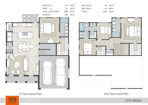 Floor Plan  4 Bed 3.5 Bath Floor Plan at Lakeside Conroe, Montgomery, Texas