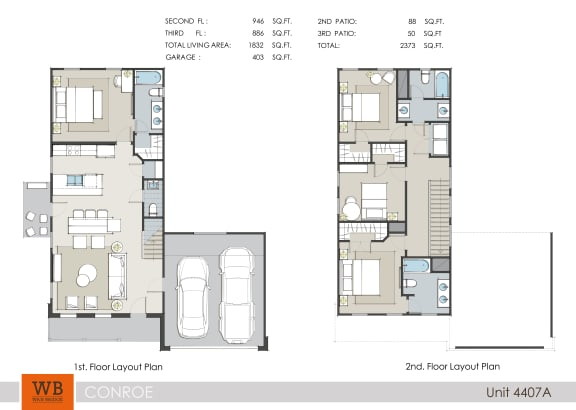 Floor Plan  4 Bedroom 3.5 Bathroom Floor Plan at Lakeside Conroe, Texas, 77356