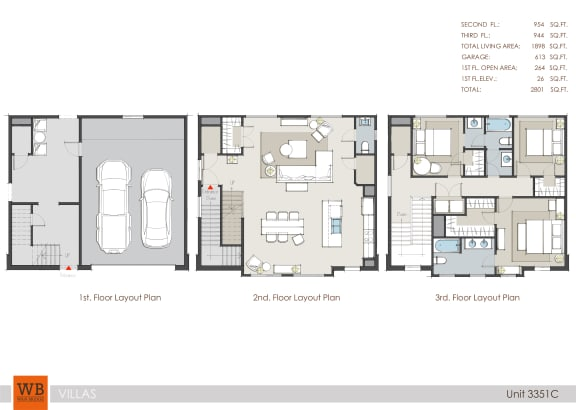 Floor Plan  3351C Floor Plan at Villas at Kings Harbor Apartments, TBD MANAGEMENT, Kingwood
