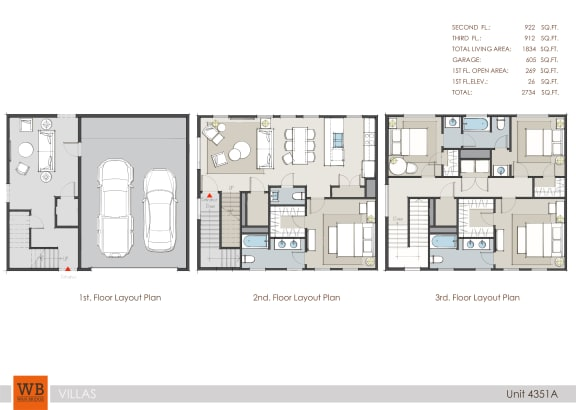 Floor Plan  4351A Floor Plan at Villas at Kings Harbor Apartments, TBD MANAGEMENT, Texas, 77345