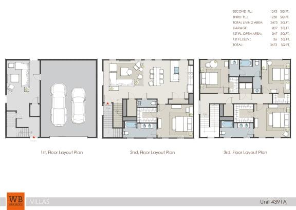 Floor Plan  4391A Floor Plan at Villas at Kings Harbor, Texas, 77345
