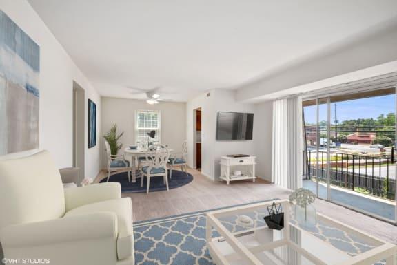 Lovely Living Room with Sliding Glass Door