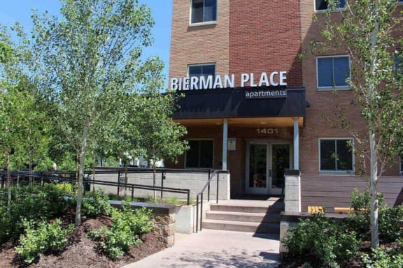 Property Exterior and Entrance of Bierman Place Apartments in Minneapolis, MN