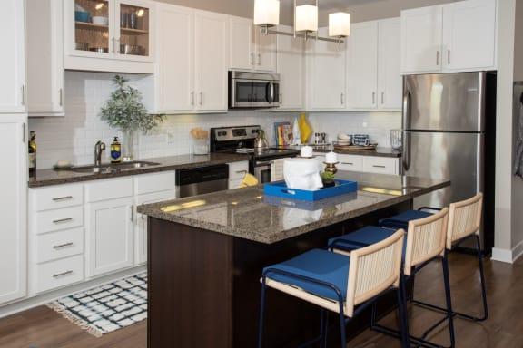 Updated kitchen with stainless steal appliances at MartinBlu in Eden Prairie, MN