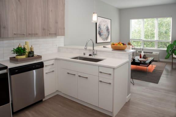 nordic floor plan, studio, kitchen and living area