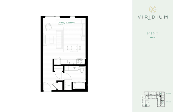 Floor Plan  studio floor plan mint at Viridium Apartments, Minnesota, 55401