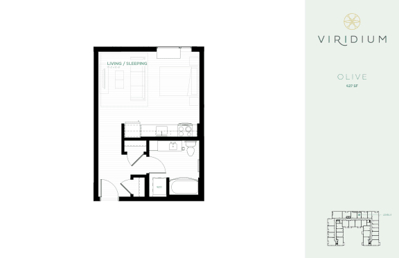 Floor Plan  studio floor plan olive at Viridium Apartments, Minneapolis, 55401