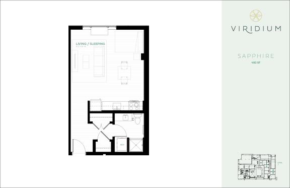 Floor Plan  0 Bed 1 Bath Floor Plan at Virdium Apartments, 721 N Third Street, Minneapolis