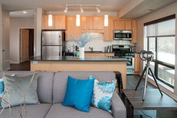 Zest Apartments Model Living Room Kitchen