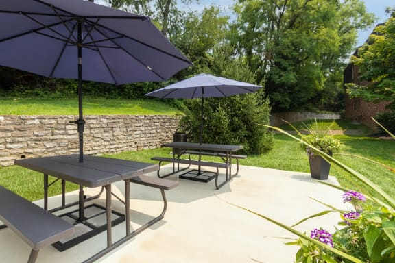 This is a photo of the picnic area at Romaine Court Apartments in the Oakley neighborhood of Cincinnati, Ohio.