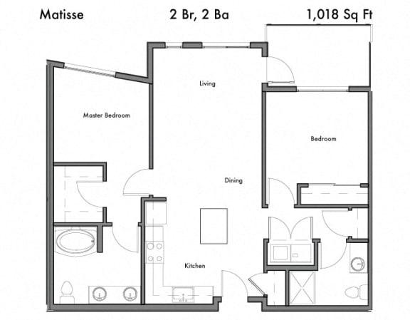 Floor Plan  2 bedroom 2 bath Floor Plan  at Discovery West, Issaquah, WA