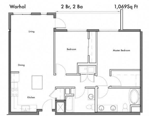 Floor Plan  2 Bedroom 2 Bathroom Floor Plan at Discovery West, Issaquah, Washington