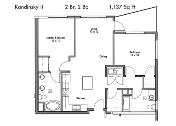 Floor Plan  Two bedroom Two bathroom Floor Plan at Discovery West, Issaquah, WA, 98029