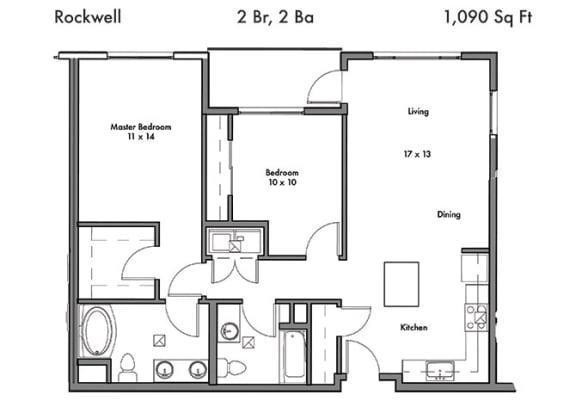Floor Plan  2 Bedroom 2 Bathroom Floor Plan at Discovery West, Washington
