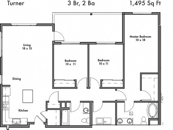 Floor Plan  3 Bed, 2 Bath Floor Plan at Discovery West, Issaquah
