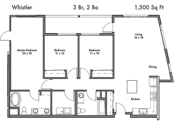 Floor Plan  Three Bed Two Bath Floor Plan at Discovery West, Issaquah, WA, 98029