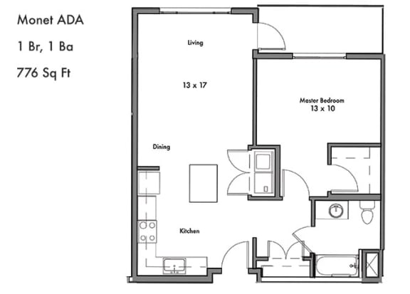 Floor Plan  One Bed One Bath Floor Plan at Discovery West, Issaquah, 98029