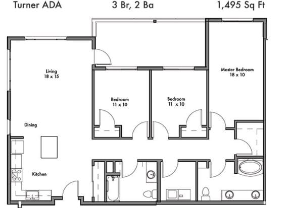 Floor Plan  3 Bedroom and 2 Bath Floor Plan at Discovery West, Washington
