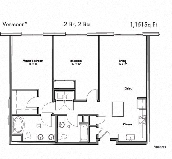 Floor Plan  Two bedroom Two bathroom Floor Plan at Discovery West, Issaquah, 98029