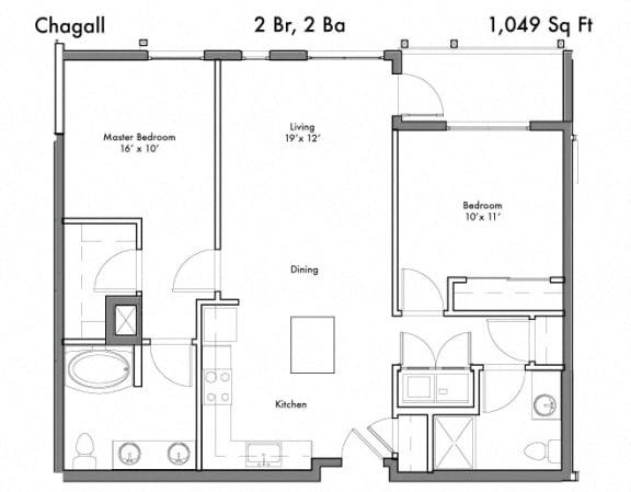 Floor Plan  2 Bed 2 Bath Floor Plan at Discovery West, Washington, 98029