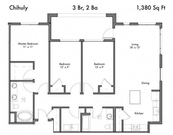 Floor Plan  3 bedroom 2 bath Floor Plan at Discovery West, Washington