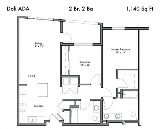 Floor Plan  2 Bedroom 2 Bathroom Floor Plan at Discovery West, Issaquah, 98029