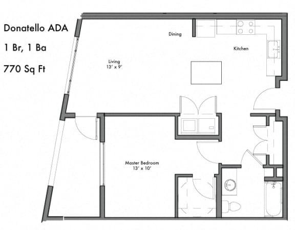 Floor Plan  1 Bedroom 1 Bathroom Floor Plan at Discovery West, Issaquah, Washington