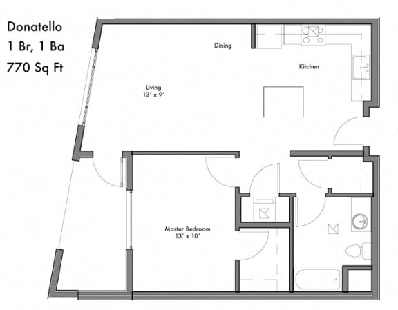 Floor Plan  1 Bed 1 Bath Floor Plan  at Discovery West, Issaquah, WA