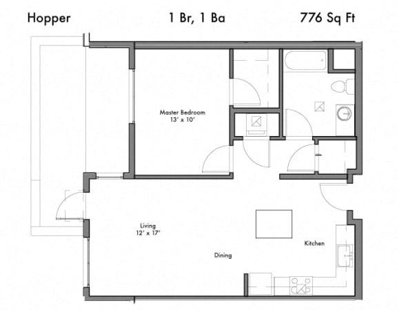 Floor Plan  1 Bed 1 Bath Floor Plan at Discovery West, Washington