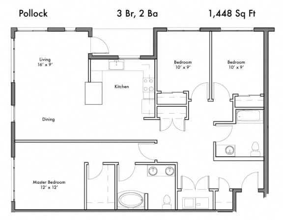 Floor Plan  3 Bed, 2 Bath Floor Plan at Discovery West, Issaquah, Washington