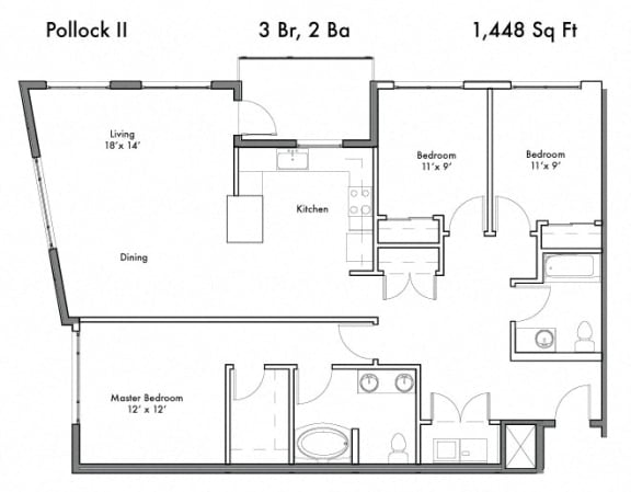 Floor Plan  3 Bedroom and 2 Bath Floor Plan at Discovery West, Issaquah, Washington