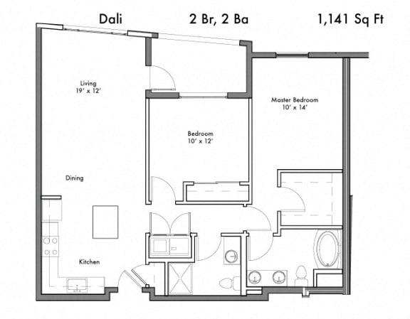 Floor Plan  2 Bedroom 2 Bathroom Floor Plan at Discovery West, Issaquah