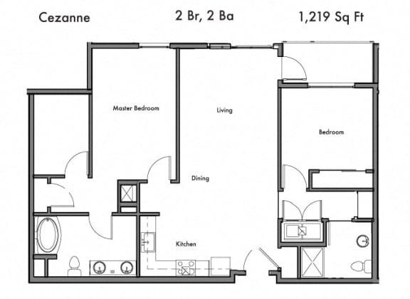 Floor Plan  2 Bedroom 2 Bathroom Floor Plan at Discovery West, Washington, 98029