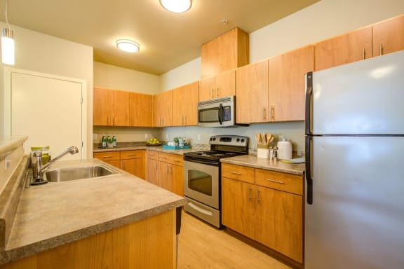 stainless steel kitchen appliances at  Discovery Heights in Issaquah, Washington