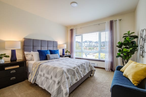 Master bedroom with natural light at  Discovery Heights in Issaquah, WA
