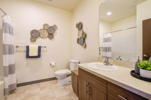Spacious and modern bathroom at  Discovery Heights in Issaquah, WA 98029