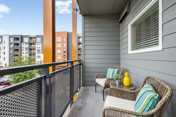 private patio or balcony at  Discovery Heights in Issaquah, WA
