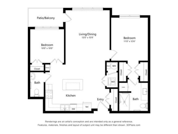 Stonepointe_2 Bedroom Floor Plan_B2