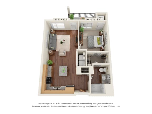 Floor Plan  Heritage At Church Ranch_3D_1 Bedroom A