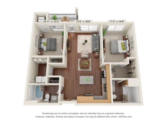 Floor Plan  Heritage At Church Ranch_3D_2 Bedroom B