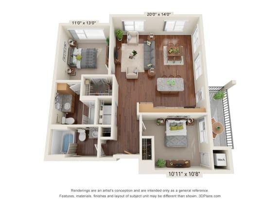 Floor Plan  Heritage At Church Ranch_3D_2 Bedroom C