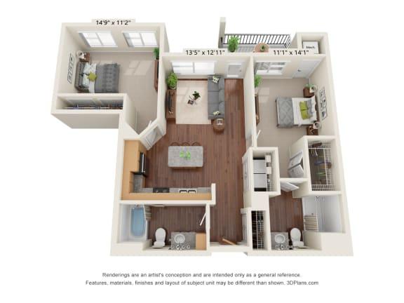 Floor Plan  Heritage At Church Ranch_3D_2 Bedroom E